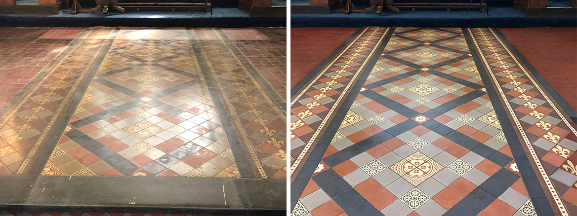Flood Damaged Church Victorian Tiles Before and After Restoration Worcester