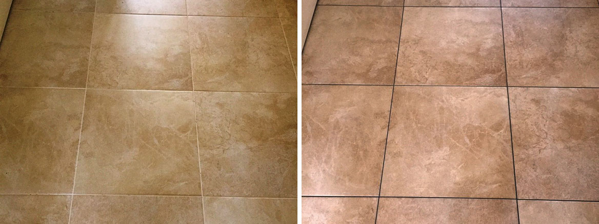 Large Porcelain Floor Before and After Grout Colouring Kidderminster