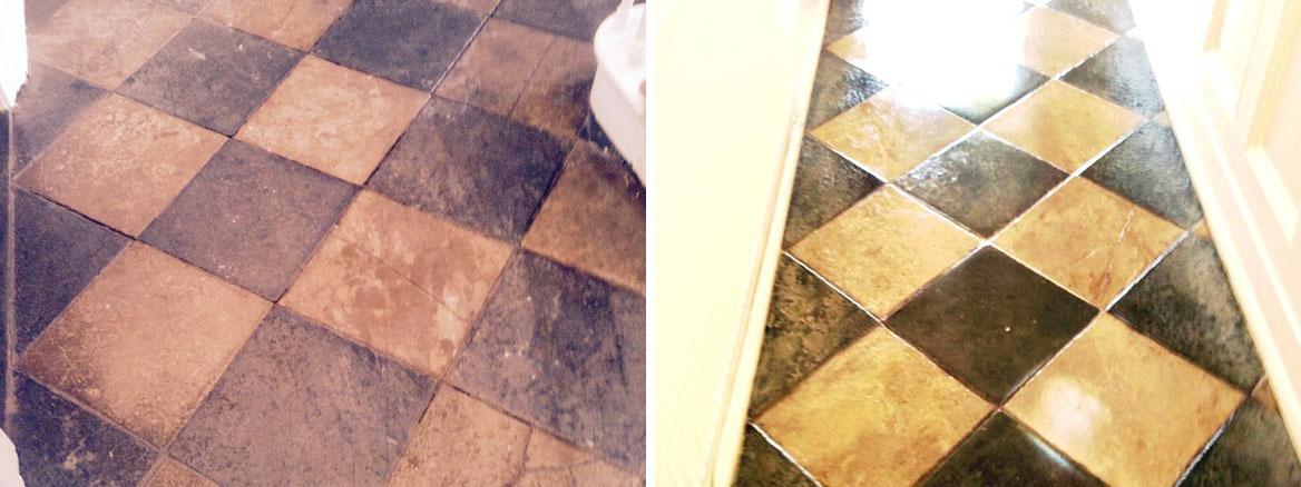 Limestone and Slate tiled floor Before and After Restoration in Worcester