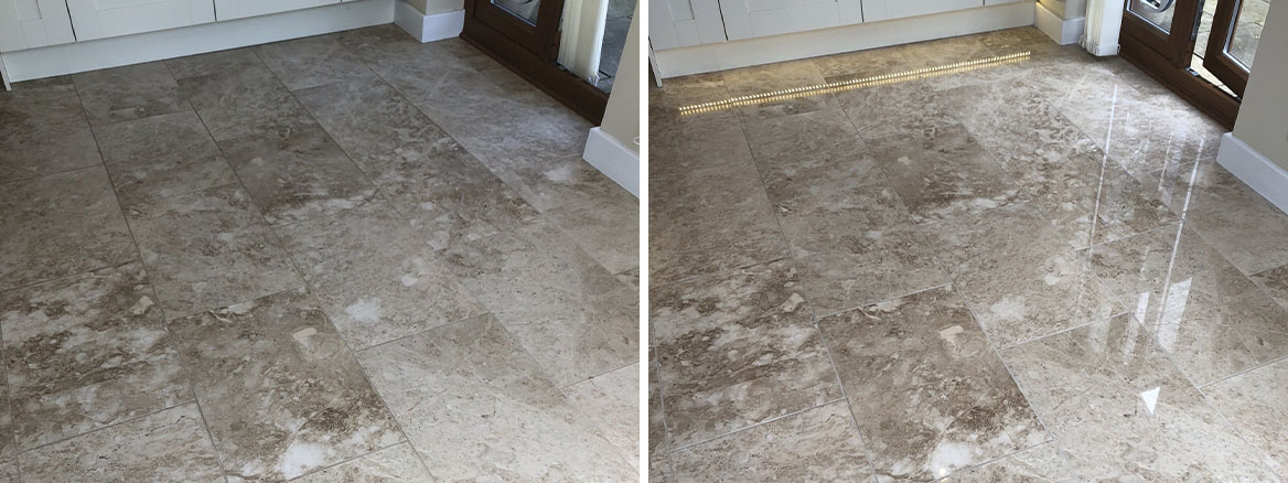 Marble Tiled Kitchen Floor Before and After Polishing Callowend