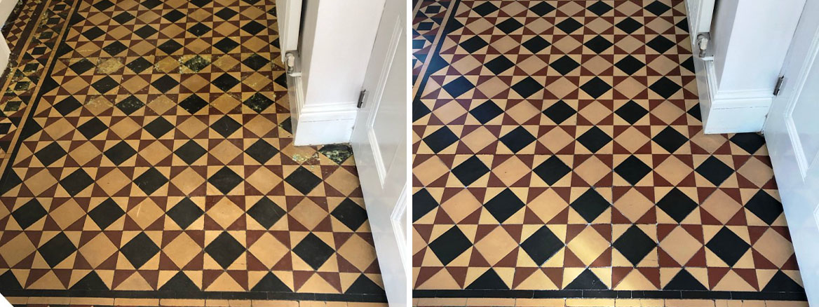 Minton Victorian Tiled Hallway Floor Before and After Repair and Renovation Kidderminster