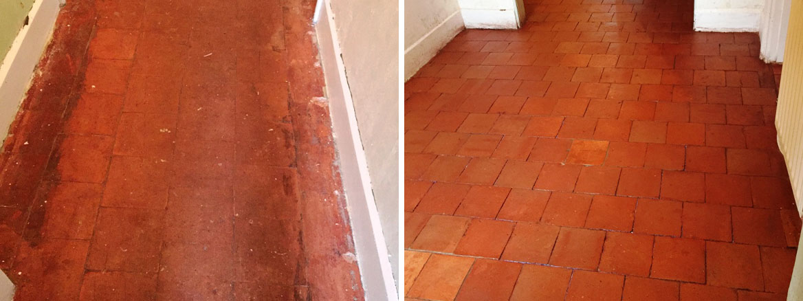 Period Quarry Tiled Floor Before and After Restoration Great Witley