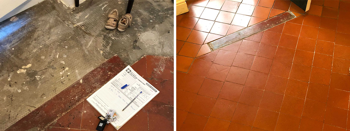Quarry Tiled Floor Extension Blakedown Kidderminster Before and After