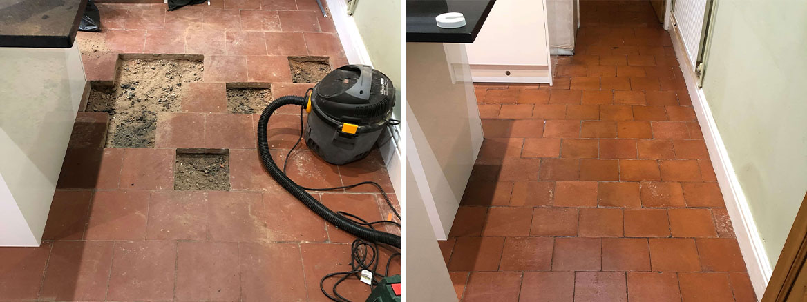 Quarry Tiled Kitchen Floor Before and After Sealing Droitwich Spa
