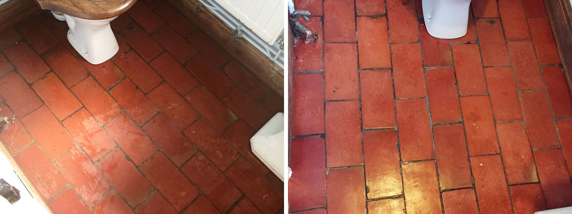 Quarry Tiled WC Floor Brotheridge Green Farmhouse Before and After Cleaning