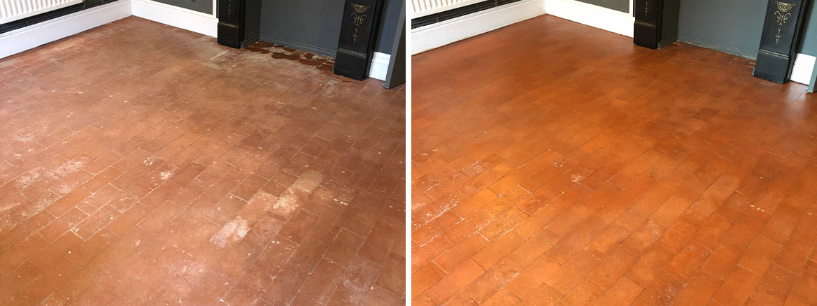 Salt Damaged Quarry Tiled Floor Before and After Renovation Hartlebury