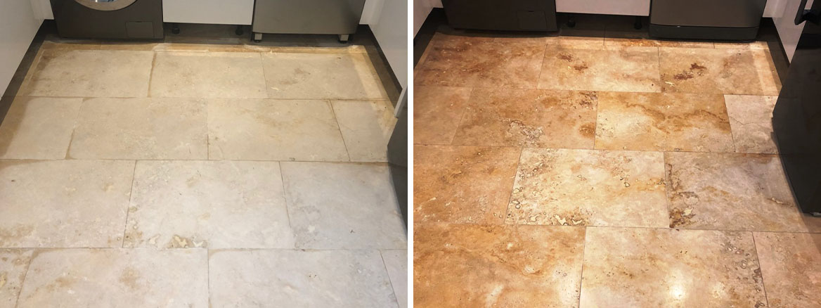 Travertine Floor Before and After Lippage Removal Ombersley