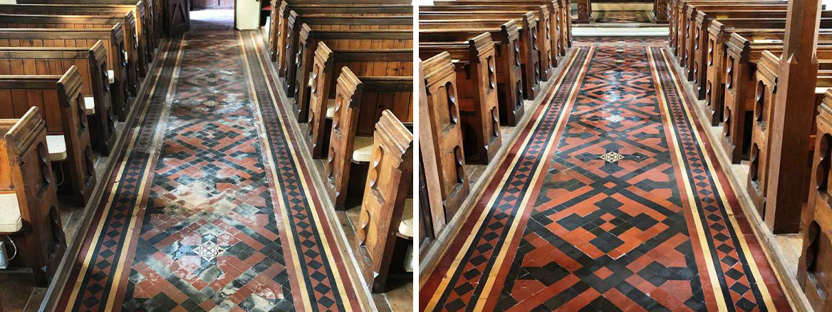 Victorian Floor Before and After Cleaning St Michaels Church Rushock