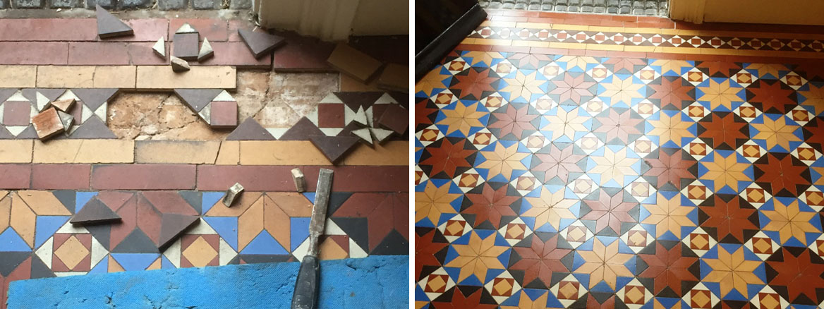 Fantastic Victorian Tiled Floor Restored to New in Stourbridge