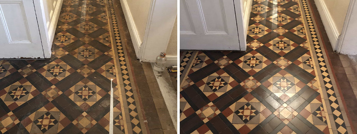 Victorian Minton Tiled Hallway Covered in Carpet Before and After Restoration Kidderminster