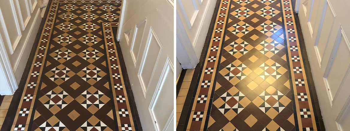 Victorian Tiled Hallway Before and After Cleaning Sealing Evesham