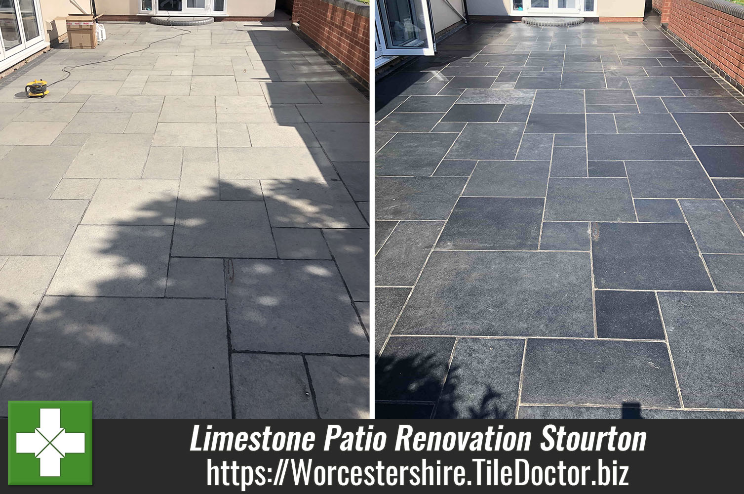Limestone Patio Before and After Renovation Stourton