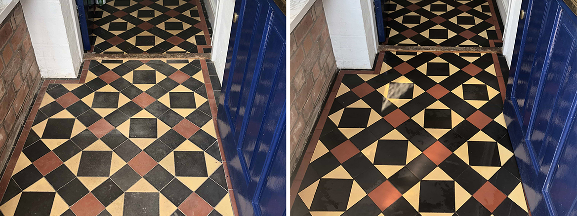 Victorian Hallway Floor Tiles Restored in Malvern